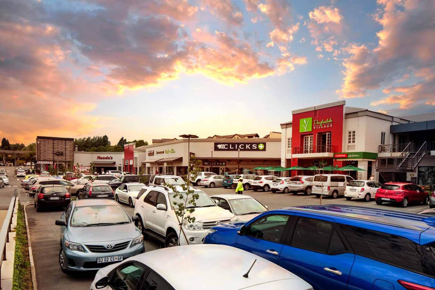 Douglasdale Village building and parking lot in Johannesburg