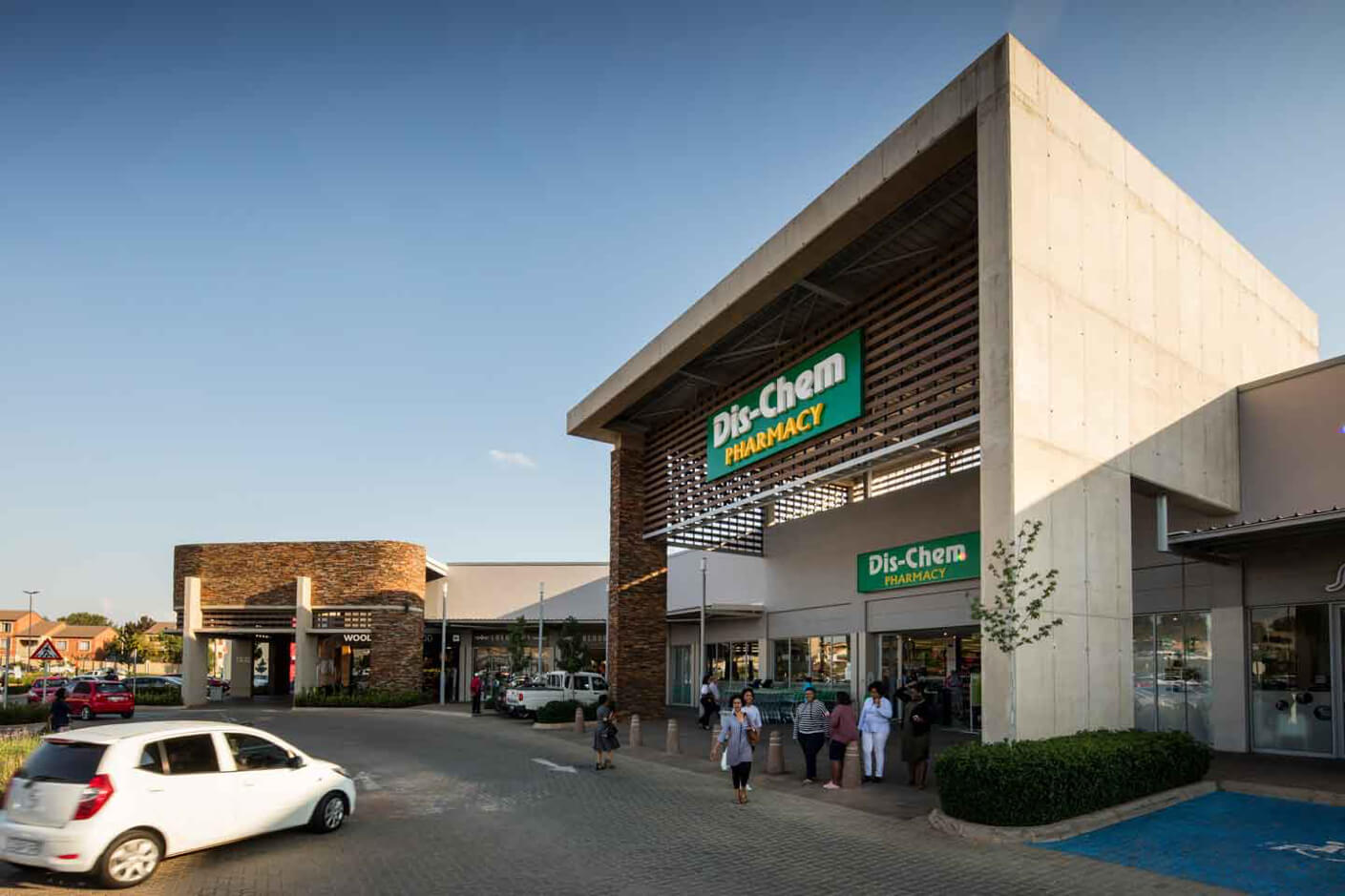 Dis-Chem entrance at Jean Crossing in Centurion managed by Dorpstraat Properties