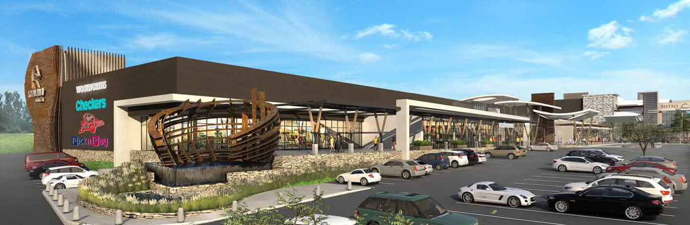 Computer rendering of Kyalami Corner Shopping Centre managed by Dorpstraat Properties