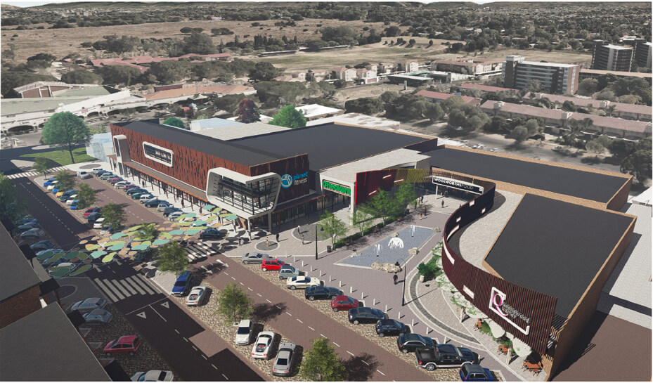 Aerial view of Queenswood Quarter building in Pretoria