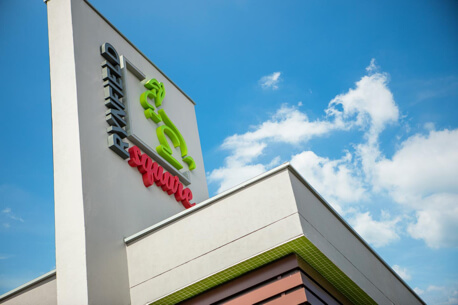 Low angle view of Rynfield Square signage in Benoni