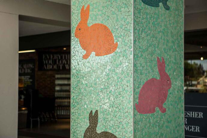 Colourful bunny mosaic pillar at Rynfield Square in Benoni