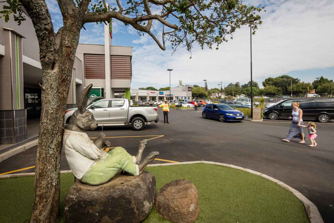 Rabbit sculpture under at tree at Rynfield Square in Benoni