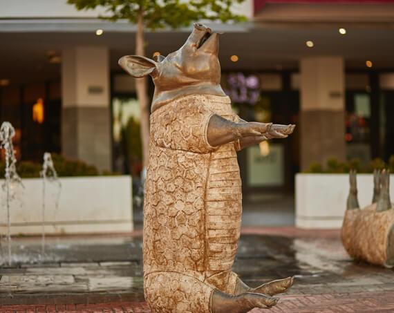Pig sculpture at Stellenbosch Square