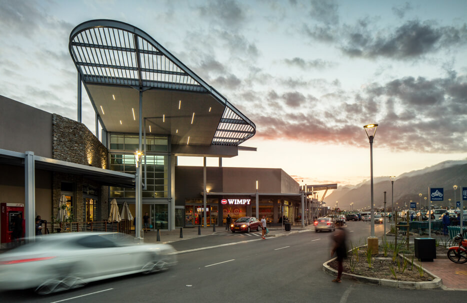 Entrance of Whale Coast Mall in Hermanus at dusk