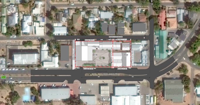Satellite view of where De Korenvlij will be in Malmesbury, a project by Dorpstraat Properties