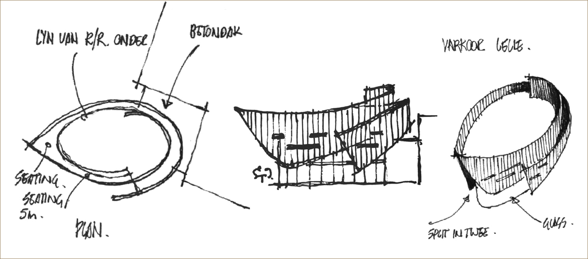 Pen sketches and drawings of the redevelopment of Stellenbosch Square by Dorpstraat Properties