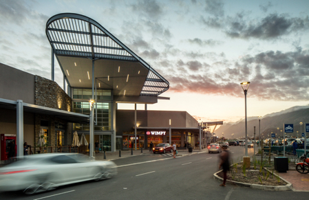 Entrance of Whale Coast Mall at dusk in Hermanus
